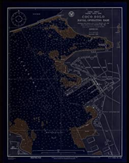 Vintography 18 x 24 Fine Art Canvas Wrap Blueprint Style Nautical Chart of Central America Panama Canal Zone Coco Solo Naval Operating Base US Navy 14a