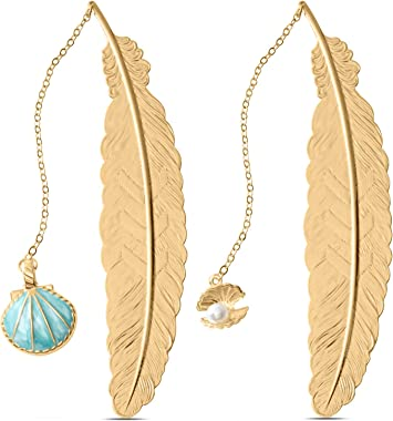 Jiazhenep Bookmarks, 2 Pack Metal Feather Pendant Book Markers Gifts for Women, Kids, Teens Girls, Readers and Book Lovers.(S