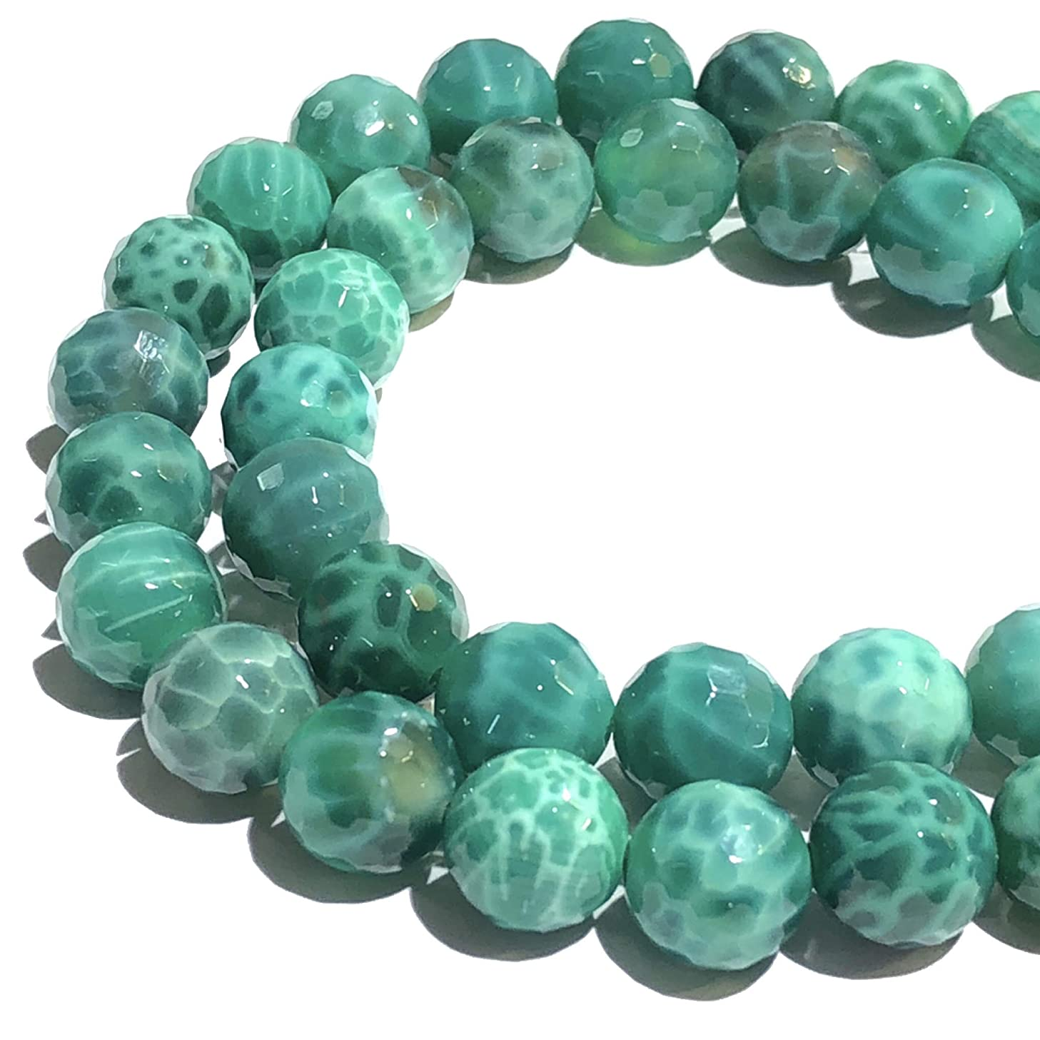 [ABCgems] African Peacock Agate (Exquisite Color & Beautiful Inclusions) 10mm Faceted Round Beads for Beading & Jewelry Making