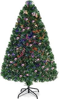 Goplus Artificial PVC Christmas Tree Pre-Lit Fiber Optic Tree (4 FT)