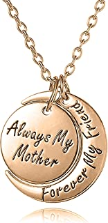 Mother's Day Jewelry Gifts from Son or Daughter 'Always My Mother Forever My Friend' Engraved Crescent Moon Pendant Necklace