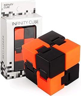 لغز مكعب سحري قابل للطي، لعبة بانتي فيدجيت كيوب لتخفيف الضغط برتقالية