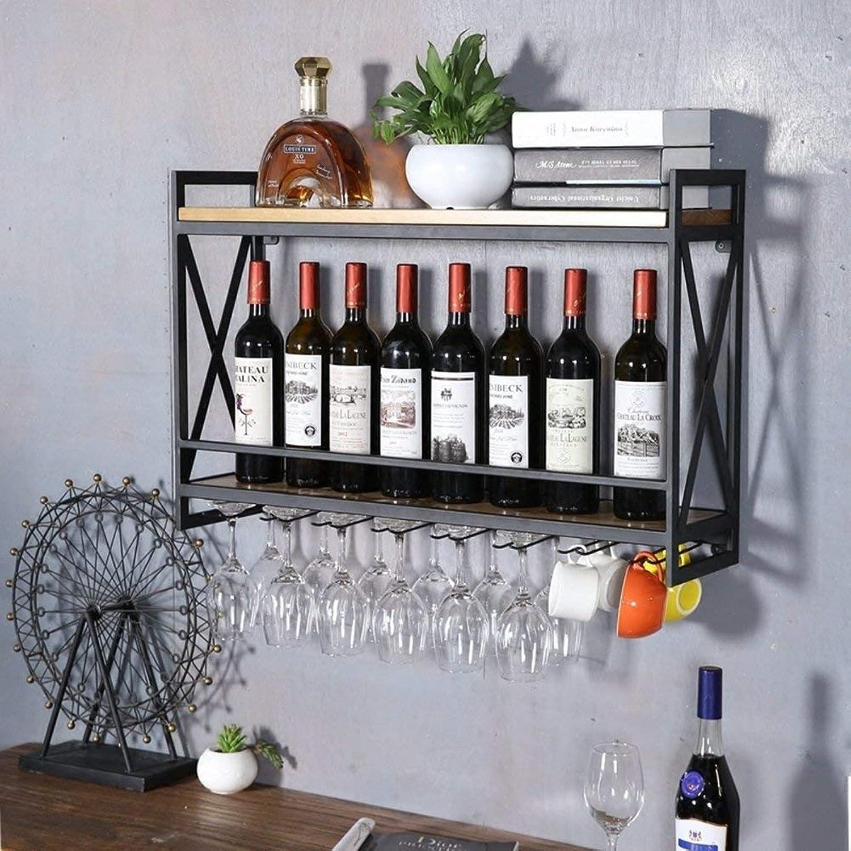 Red Wine Shelf Wrought Iron Wine Rack Wall Hanging Racks Creative Restaurant Decorative Ornaments Wood Wine Cabinet Wine Cup Holder,Black,80  20  52Cm