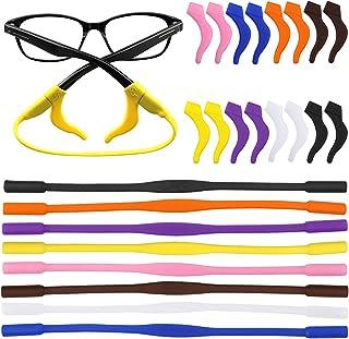 16d2b847b8c SelfTek 8 Pack Silicone Anti-Slip Sports Elastic Glasses Strap with 8 Pairs  Ear Grip