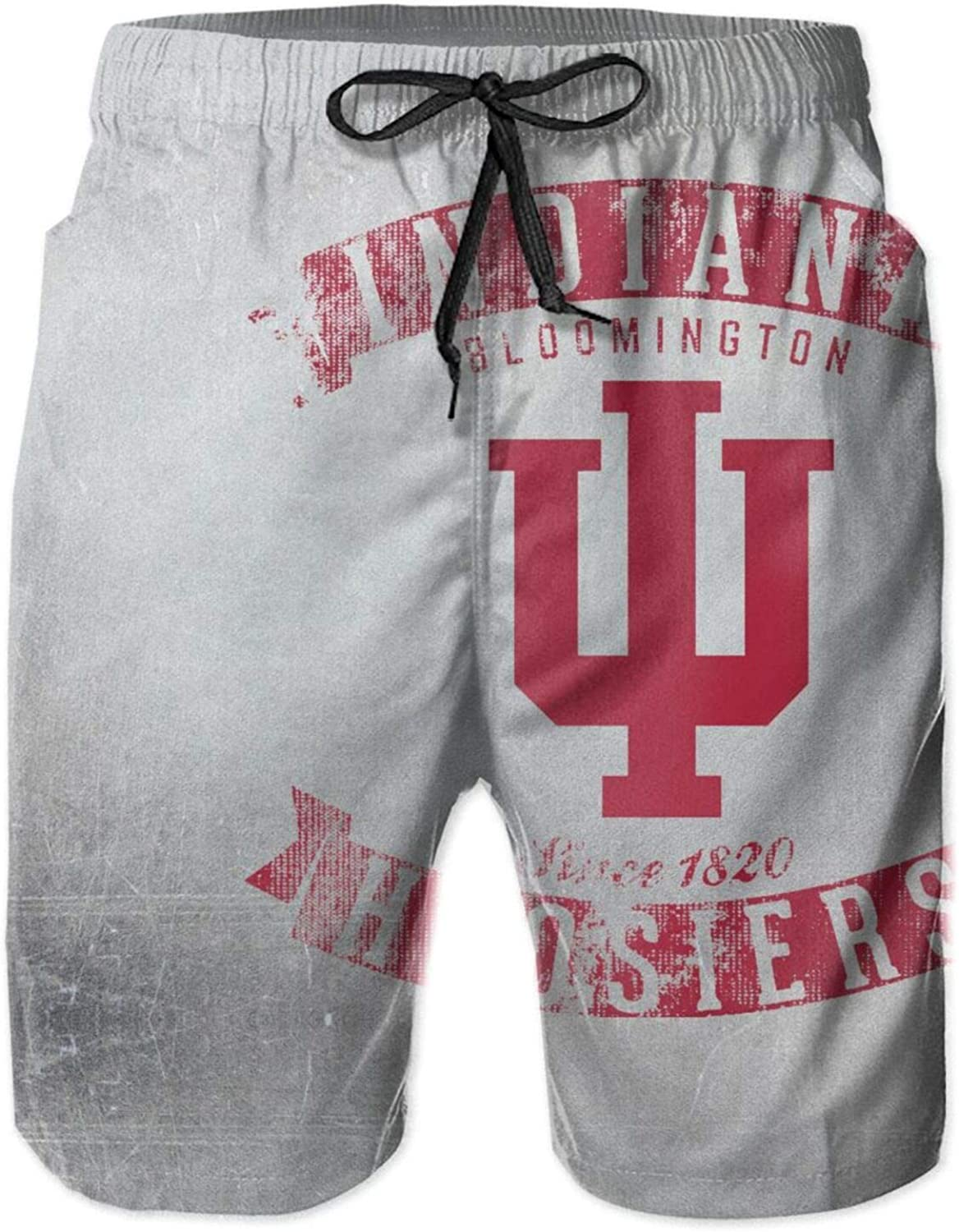 Chuanchuandedian Indiana University Men's Beach Shorts Quick Dry Casual Swim Trunks Swimming Pants