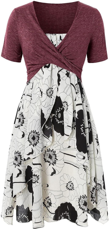 wlczzyn Summer Dresses for Women Floral Print Swing Mini Dress Bow Knot Bandage Suit Dress Short Sleeve Casual Sundress