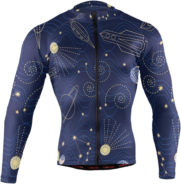 DERLONKAJE Alien Head Leaf Cannabis Weed Men's Cycling Jersey Long Sleeve Breathable Biking Shirts Gear Style
