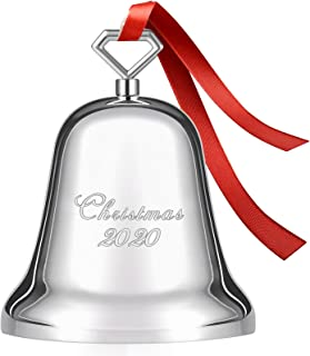 Koreno 2021 Annual Christmas Bell, Silver Bell Ornaments Nickel-Plated for Christmas Tree Decorations, Holiday Bell Jingle...