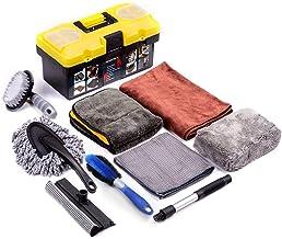 Mofeez 9pcs Car Cleaning Tools Kit with Blow Box Car Tire Brush Wash Mitt Sponge Wax Applicator Microfiber Cloths Window W...