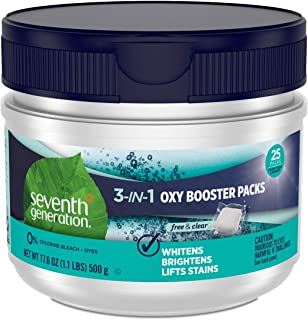 Seventh Generation Laundry Stain Remover Oxy Booster Packs, Free & Clear, 25 Count