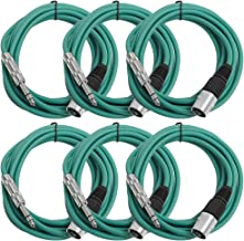 "SEISMIC AUDIO - SATRXL-M10-6 Pack of Green 10' XLR Male to 1/4"" TRS Patch Cables"