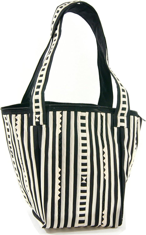 Bloomy Life Bohemian Handmade Cloth Zippered Large Tote Shoulder Bag  Black & White