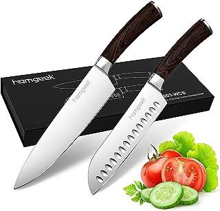 homgeek Ensembles de Couteau 2 Pièces Set de Couteaux Professionnels,Couteau de Chef & Couteau de Cuisine Couteaux de Sant...