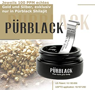 Pürblack Live Resin True Gold & Silver Shilajit - Genuine, High-Efficacy, 4th Generation Shilajit (15g Jar with Pürscale)