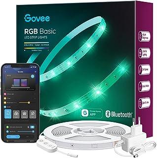 Govee LED Streifen 15m, Bluetooth RGB LED Strip mit App-Steuerung, Farbwechsel, Musik Sync, 64 Szenenmodus, Lichterkette f...