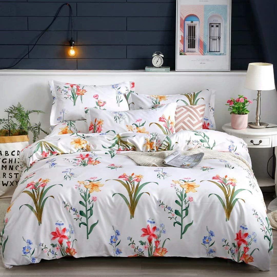 Shatex King Size Comforter Set 3 Pieces Bedding Comforter Sets King Set– Ultra Soft 100% Microfiber Polyester – Floral Print Brown Comforter with 2 Pillow Shams
