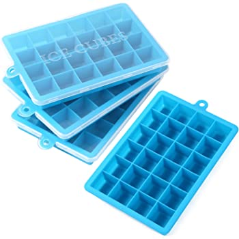 ALEC 製氷皿 シリコン製 ふた付き [四角氷 24個取り] ブルー 4個セット