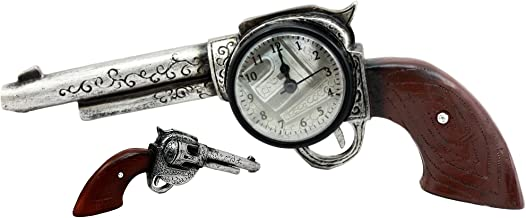 Ebros Wild Wild West Six Shooter Revolver Gun Decorative Table Clock Figurine As Rustic Western Cowboy Decor Desert Sheriff And Bandits Pistol Sculpture Gift Idea For Dads Fans of Cowboys Cowgirls
