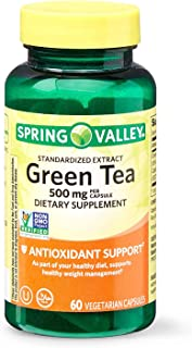 Spring Valley Green Tea 500 mg, Antioxidant Support, 60 Vegetarian Capsules (Pack of 2)
