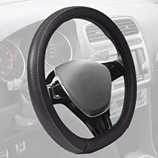 Motor Trend GripDrive Steering Wheel Cover, Carbon Fiber Series - Microfiber Leather, Flat-Bottom (D-Type) Racing Style Cover for Wheel Sizes 13.5