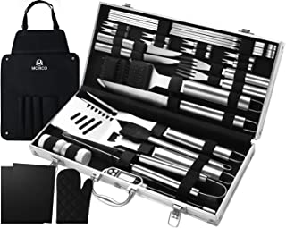M MCIRCO 32PCS BBQ Grill Tools Set,Stainless Steel Grilling Accessories with Case, Storage Apron, Grill Mats, Thermometer for Backyard Barbecue Camping, Gifts for Men Women Father's Day