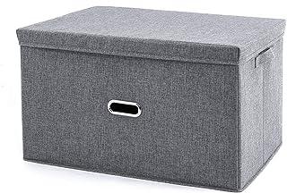 JZLRHOHO Boîte de rangement d'organisateur pliante avec couvercles, bacs de rangement pliables en tissu grand tissu avec c...