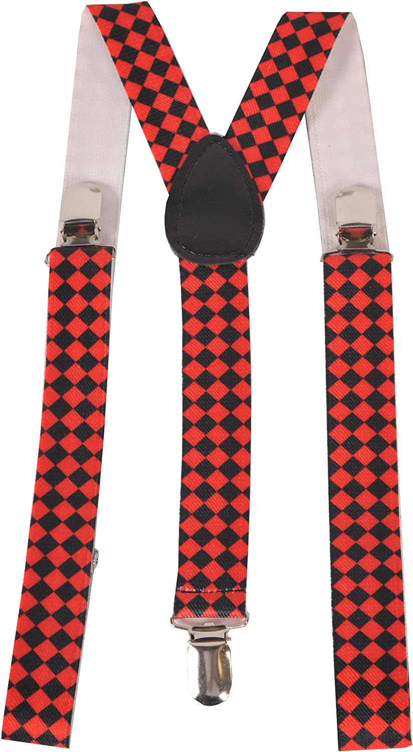 Dress-Up-America Suspenders for Adults - Party Suspenders - Y Back Adjustable Suspenders for Men, Women, and Teens (Red Checkered - Wide)