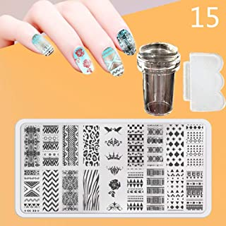 Zmond - New 12X6cm 44 Style Nail Stamping Plates Set Made Stencils Lace Flower DIY Nail Art Templates+Transparent Stamper Stamp Scraper [ 15 ]