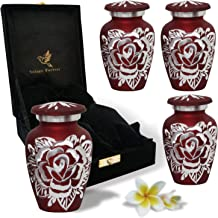 Red Rose Urn Keepsake - Handcrafted Small Rose Urns for Human Ashes - Mini Urn Set of 4 with Premium Velvet Box & Bags - H...
