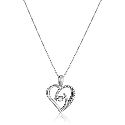 caa090e17 Dancing Diamond Sterling Silver Heart Pendant Necklace (1/10cttw, J-K  Color, I2