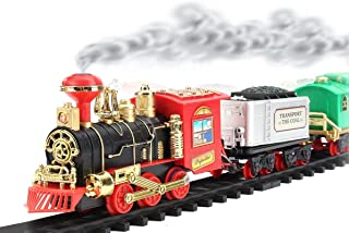Remote Control Train Set Battery Operated Choo Choo Classical RC Train W/ LED Lights , Real Smoke ,Sound Christmas Gift (Classical)
