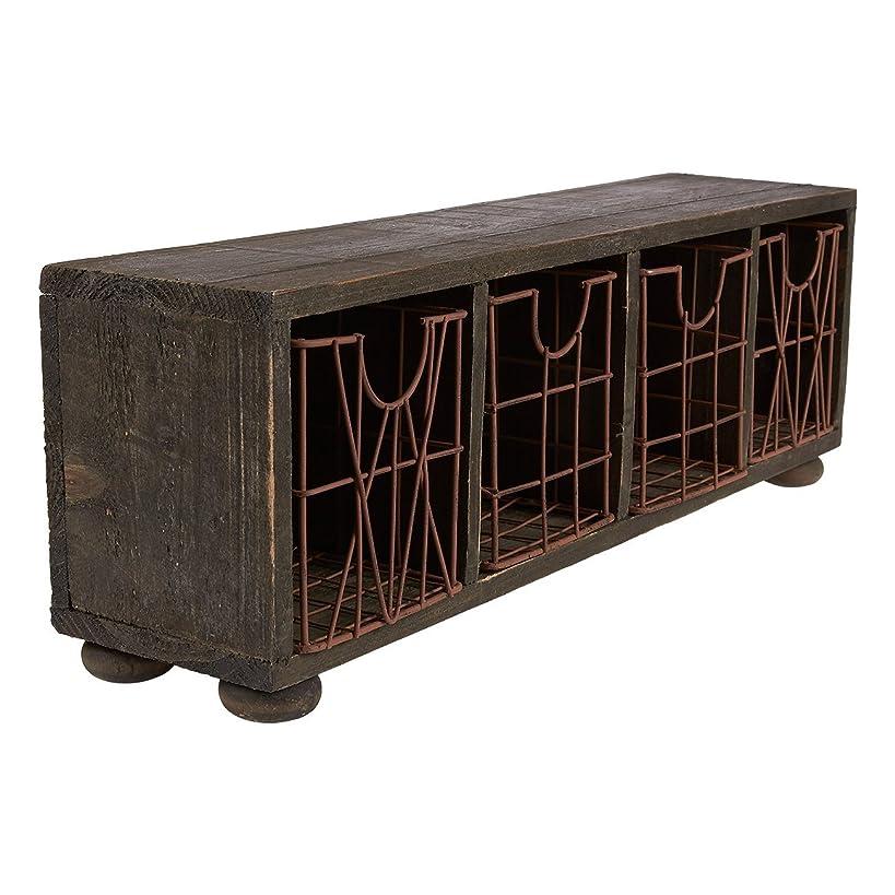 Juvale Rustic Wooden Desk Organizer - Vintage Organizer for Your Desktop, 17 x 5.7 x 4 Inches