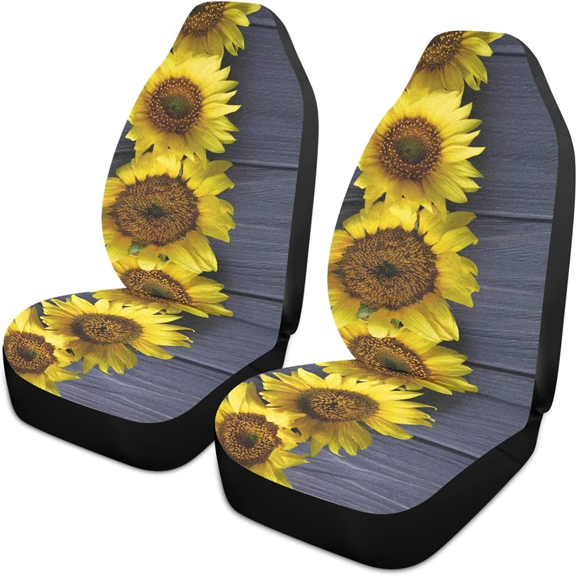 Oarencol Sunflowers Gray Wooden Discount mail order Car Seat Un 2021 new Yellow Flower Covers