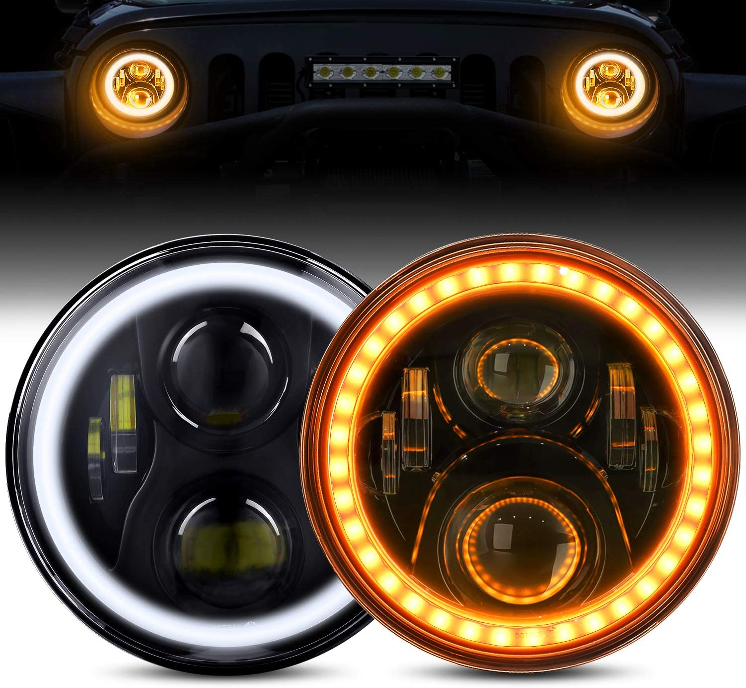 Many popular brands LED Headlights with Halo BEEYEO Direct stock discount 60W Inch Round 7