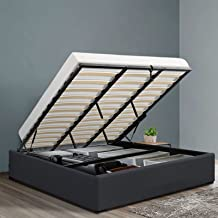 Artiss King Bed Frame Platform Farbic with Gas Lift Storage - Charcoal