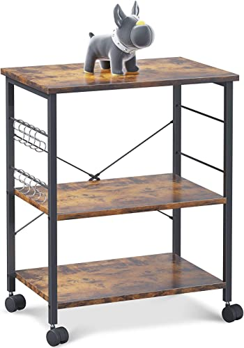 lowest ODK Kitchen Baker's high quality Rack, Kitchen Island Utility Storage Shelf Microwave Oven Stand Cart, 3 online sale Tier with 10 Removable Hooks, Rolling Lockable Caster, Rustic Brown outlet online sale