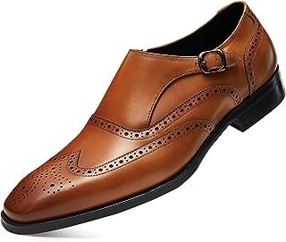 FRASOICUS Men 's Dress Shoes Genuine Leather Monk Strap Wingtip Formal Shoes Slip-On Loafer