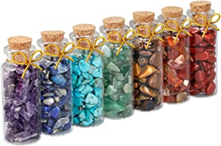 SUNYIK 7 Chakra Stone Wishing Bottles Set of 7, Tumble Chip Crystal Healing Reiki Wicca Stones Kit