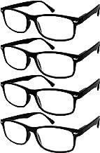 TBOC Gafas de Lectura Presbicia Vista Cansada - (Pack 4 Unidades) Graduadas +2.00 Dioptrías Montura de Pasta Negra Diseño Moda Hombre Mujer Unisex Lentes de Aumento Leer Ver Cerca