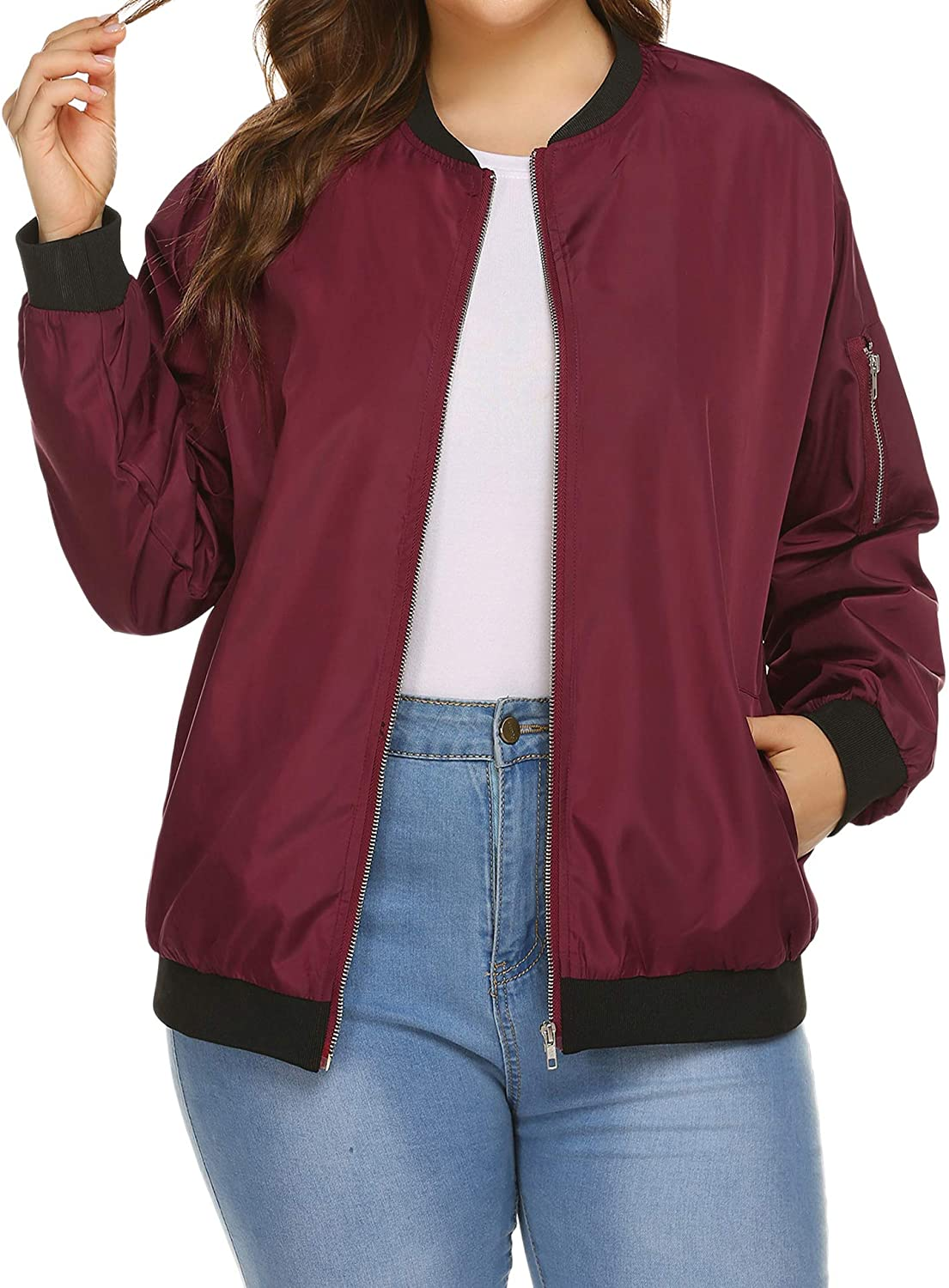 IN'VOLAND Womens Jacket Plus Size Bomber wit Jackets Max 66% OFF Quantity limited Lightweight