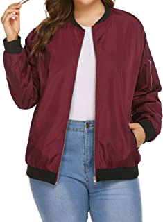 IN'VOLAND Womens Bomber Jacket Plus Size Lightweight with Pockets Zip Up Quilted Casual Coat Outwear