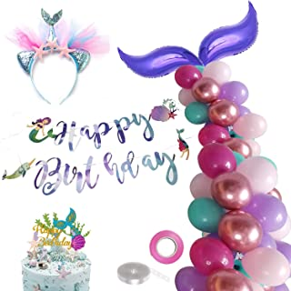 Mermaid Tail Balloons Garland - Mermaid Happy Birthday Kit for Mermaid Theme Party Supplies