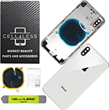 Cell4Less Back Housing Assembly Metal Frame w/Back Glass - Wireless Charging pad - Sim Card Tray and Camera Frame and Lens for iPhone X (Silver)