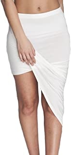 Ladies Ruched Wrap Banded Waist Side Slit Draped Asymmetrical Skirt