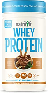 Natreve New Zealand Whey Isolate Protein Powder - Gluten Free Non-GMO Grass Fed Protein with Amino Acids (Peanut Butter Br...