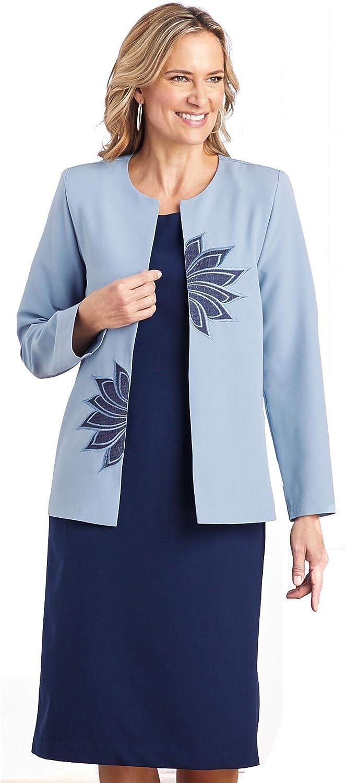 AmeriMark Women's Three Piece Dress Set - Open Front Jacket & 2 Short Sleeve Dresses One Color 22 Women