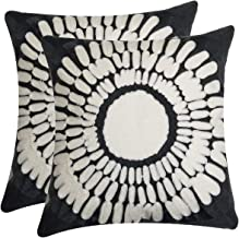 NING Set of 2 Embroidery Throw Pillow Covers Square Decorative Cushion Covers Livingroom Hidden Zipper Design 18x18 inch (Gray Flower)