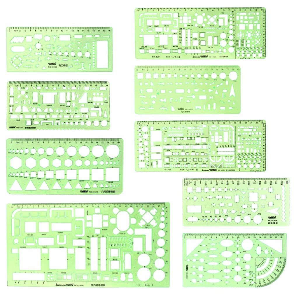 9 Pieces Geometric Drawing Templates Clear Green Building Formwork Stencils Plastic Measuring Rulers for Building and Studying
