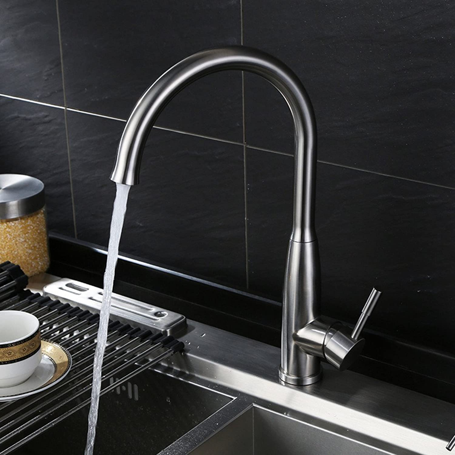 Hlluya Professional Sink Mixer Tap Kitchen Faucet The sink washing dishes pots of single cold tap Turn hot and cold faucet stainless steel kitchen faucet, cold and hot rocket