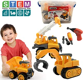 Educational STEM Toys for Boys & Girls, Toddlers Tractor Toy, Take a Part 3 Construction Vehicle Set, Dump Truck, Crane, Tractor, Excavator, Power Drill, Tools, Best Gifts Idea Kids 2-5 years old